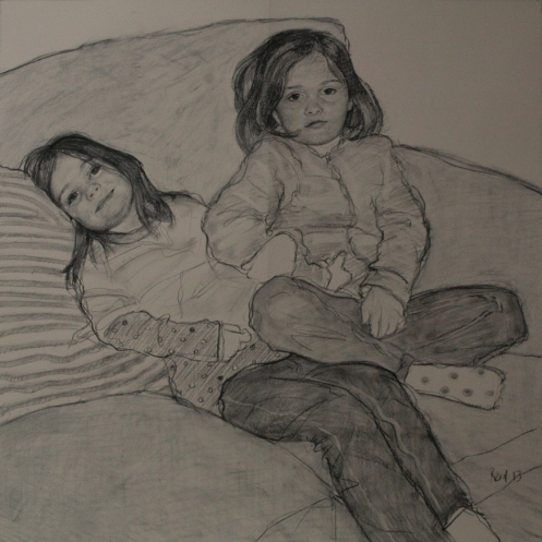 Amy and Megan charcoal