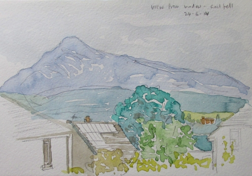 goat fell from window watercolour