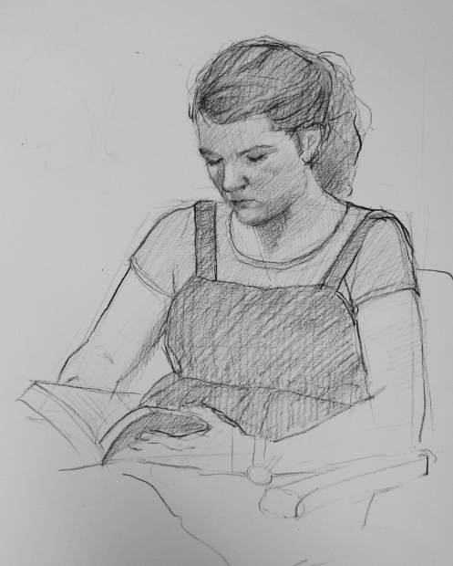 girl reading sketch