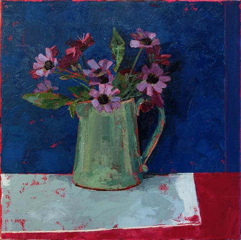 Green Jug with flowers