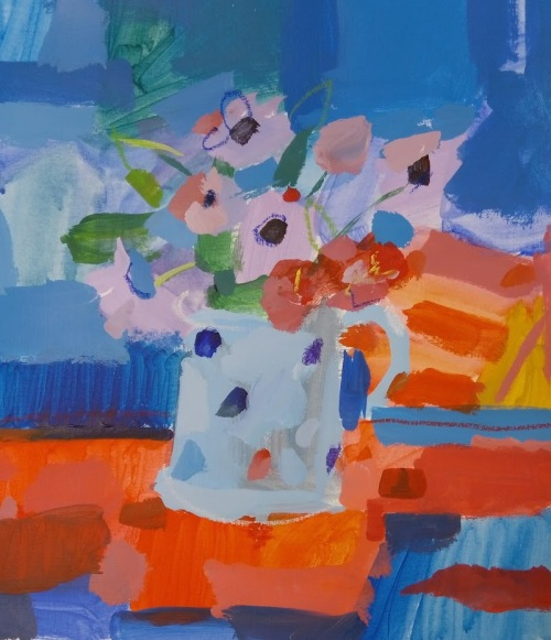 spotty cup n flowers acrylic demo